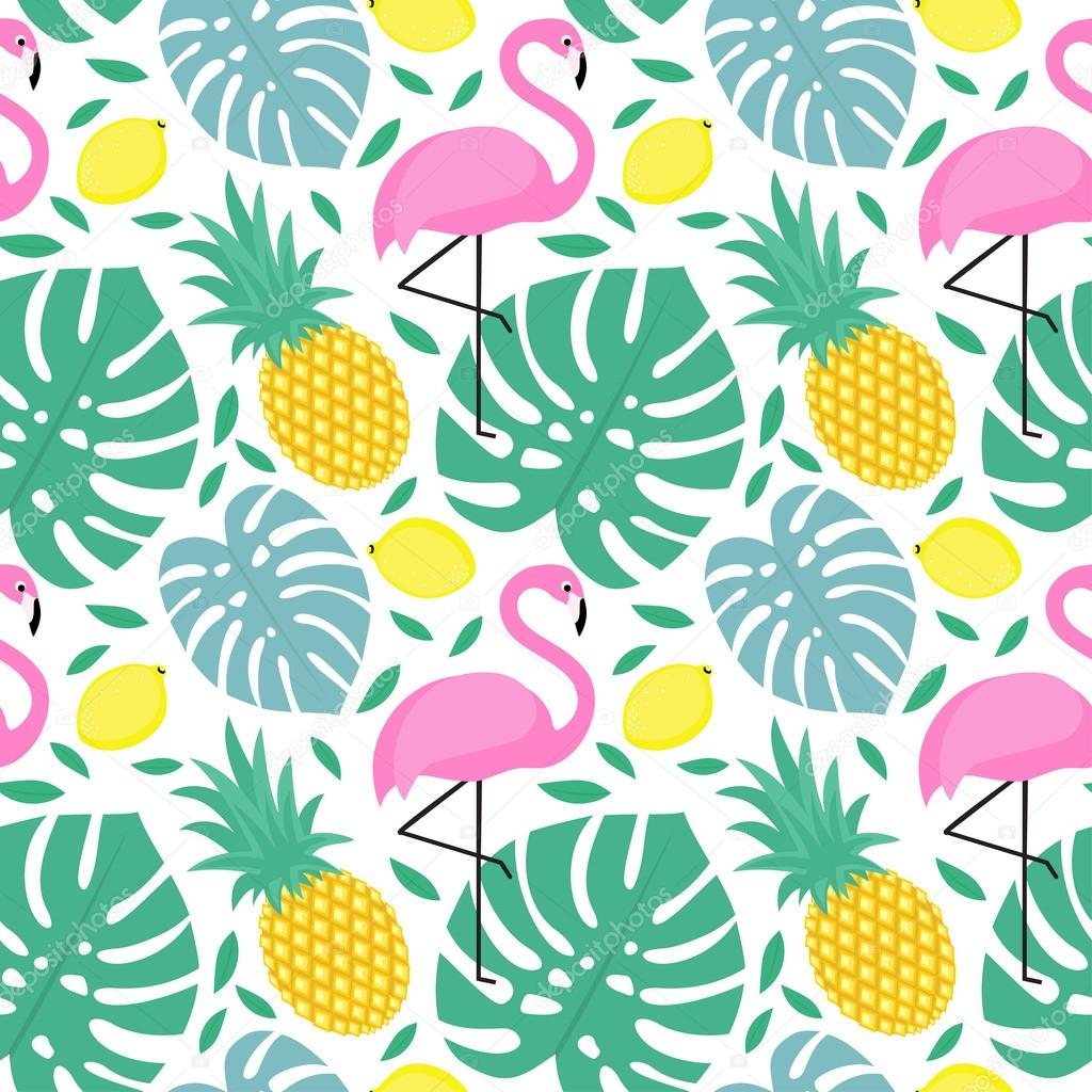 Seamless pattern with flamingo, pineapple, lemons and green palm