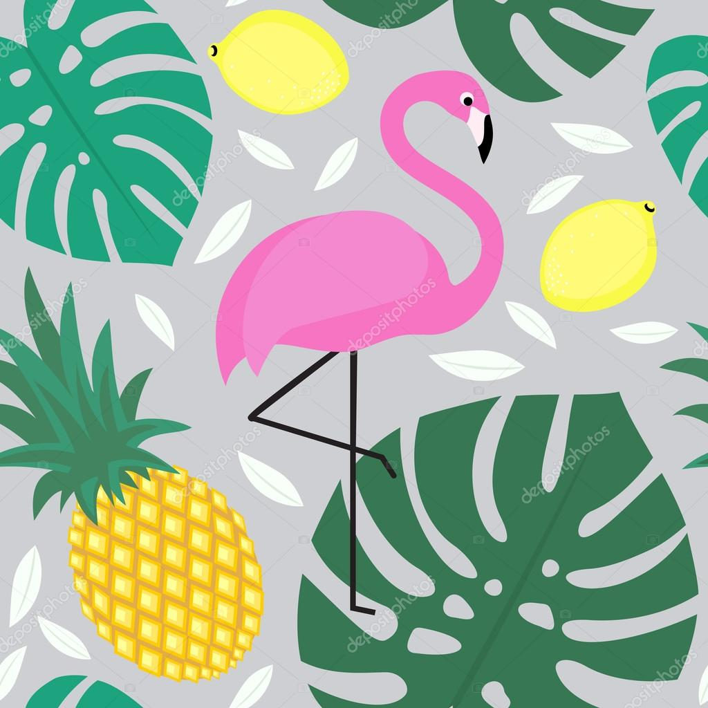 Tropical monstera leaves pattern with fruits and exotic bird.
