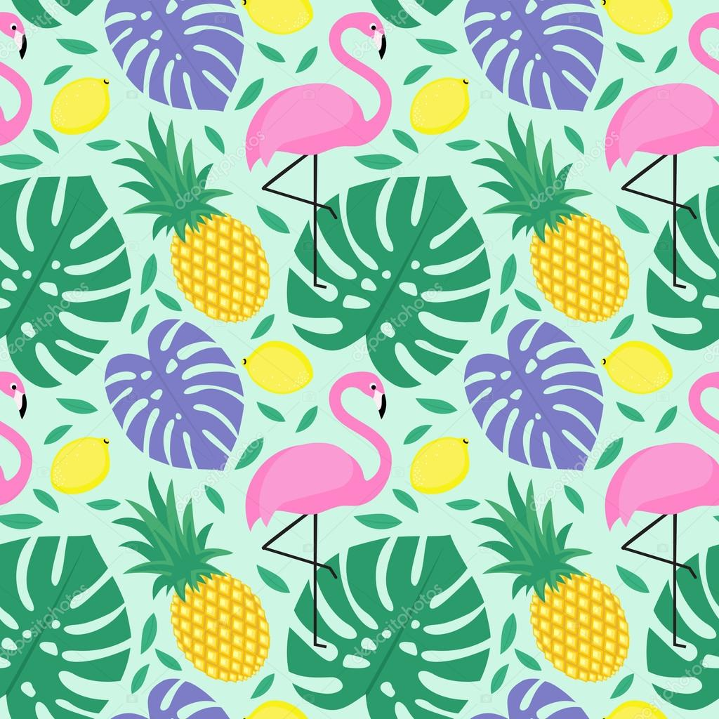 Seamless decorative background with flamingo, pineapple, lemons and palm leaves.