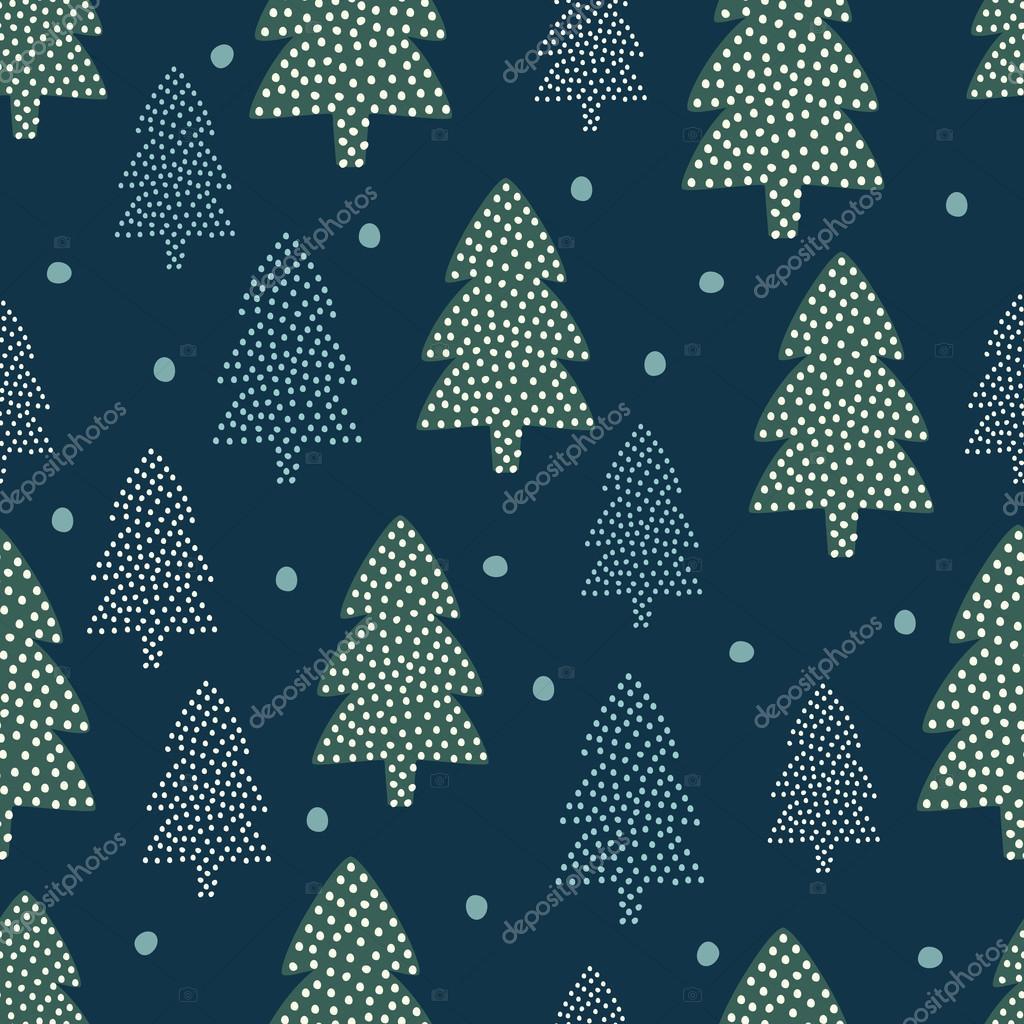 Christmas pattern - Xmas trees and snow.