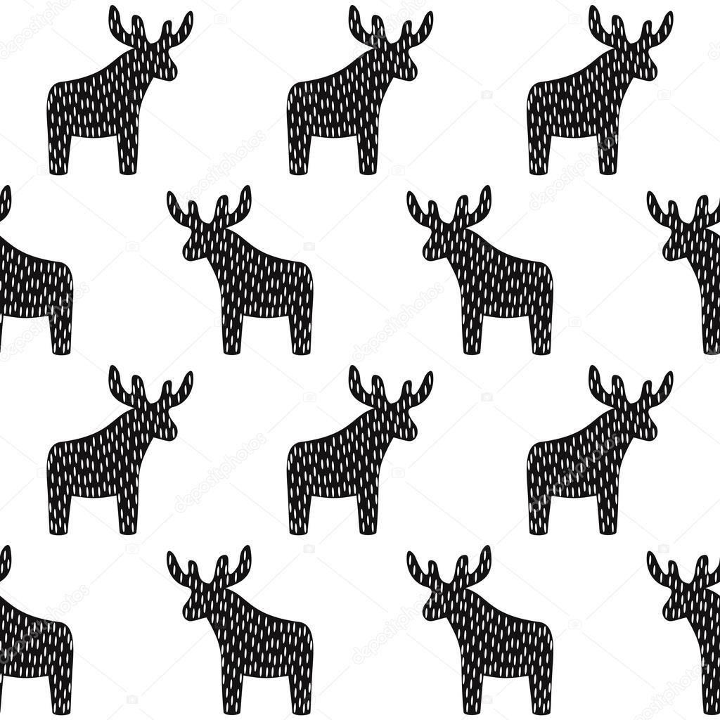 Blanco y negro patrón de Navidad con renos — Vector de stock ...