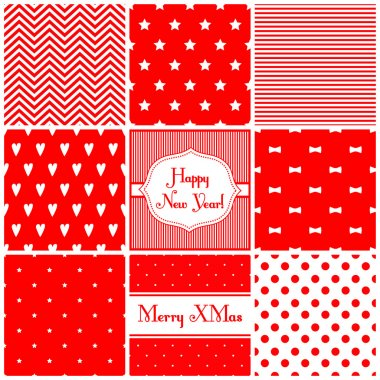 Set of simple retro Christmas patterns - hearts, stars, bows, stripes, hearts, dots, zigzag.