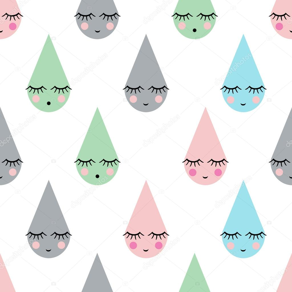 Seamless pattern with smiling sleeping drops