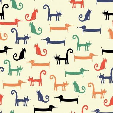 Cartoon background with funny pets.
