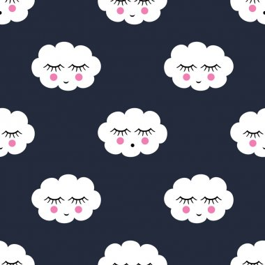 Seamless pattern with smiling sleeping clouds for kids holidays. Cute baby shower vector background. Child drawing style.