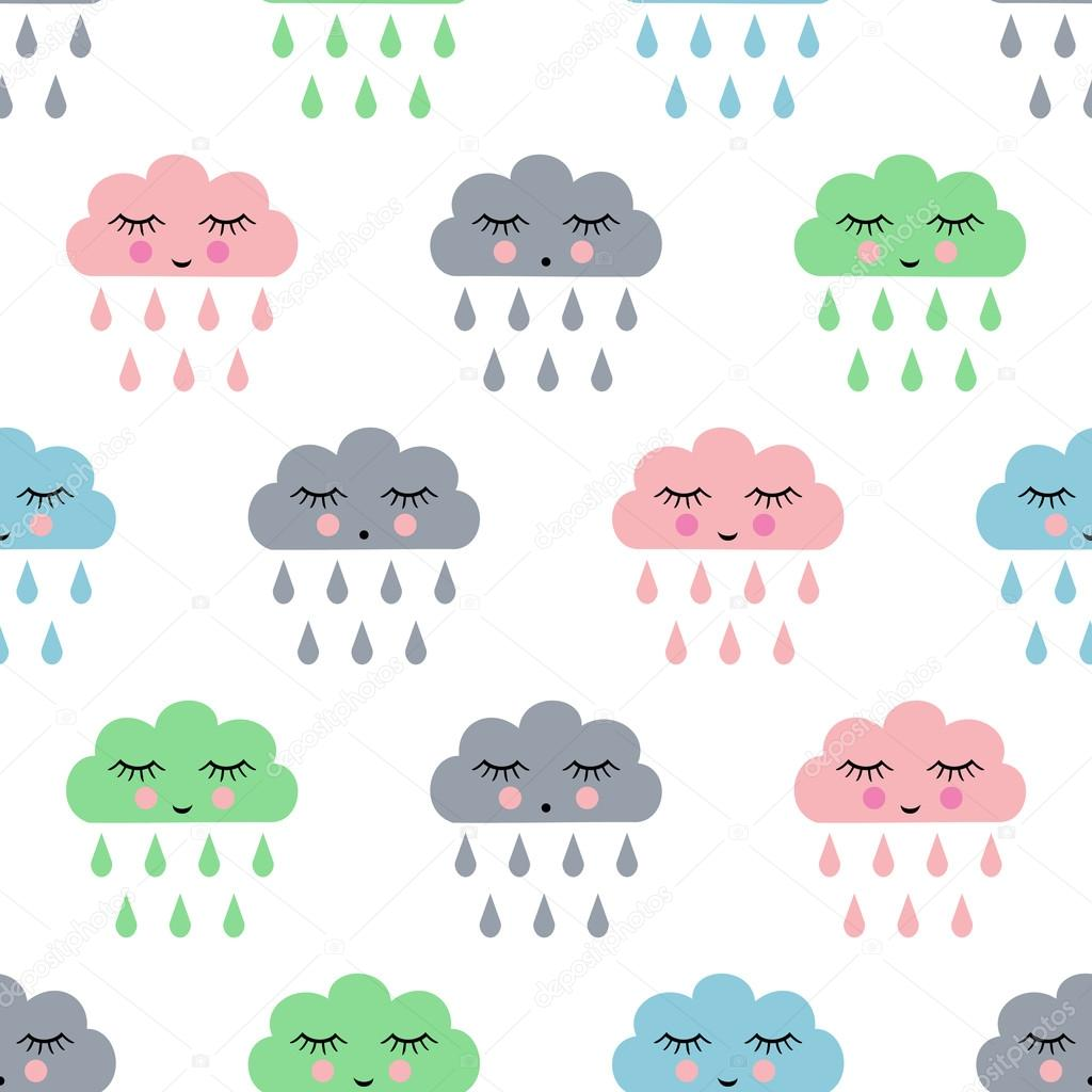 Child drawing style rainy clouds seamless vector pattern
