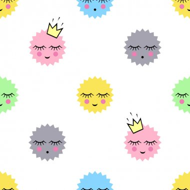 Seamless pattern with smiling sleeping suns