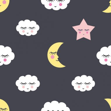 Seamless pattern with sleeping night star, clouds and moon for kids holidays