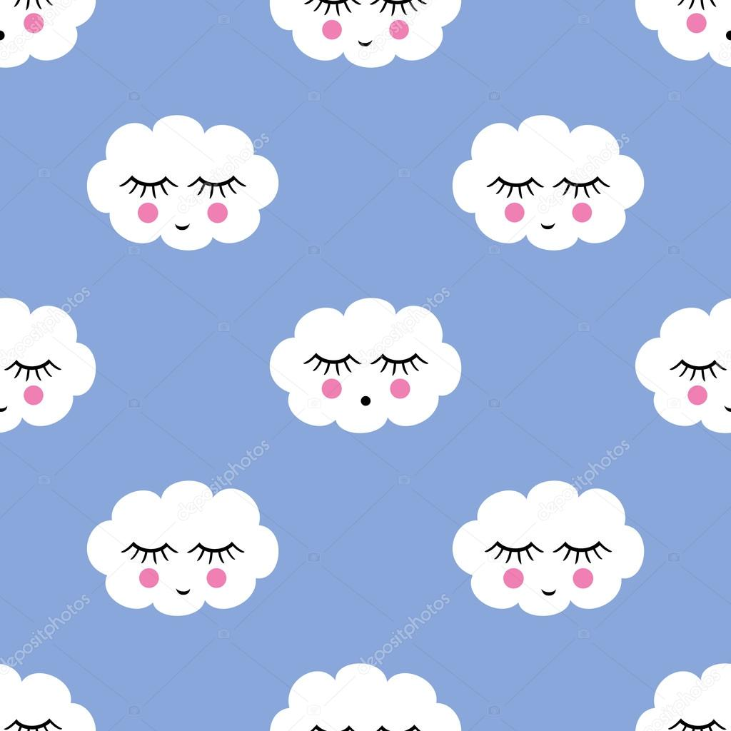 Seamless pattern with smiling sleeping clouds for kids holidays.