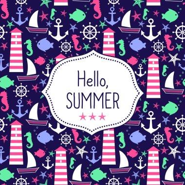 Cute vector card Hello Summer. Navy vector seamless sea pattern