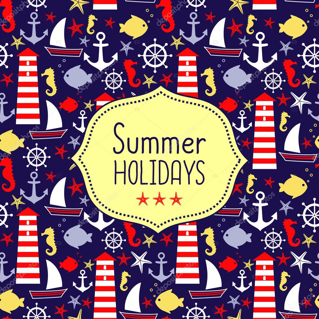 Cute vector card for summer holidays. Navy vector seamless sea pattern
