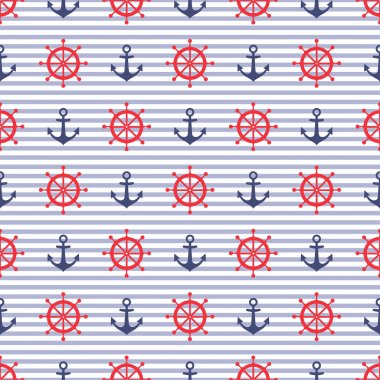 Navy vector seamless pattern: anchor and steering wheel