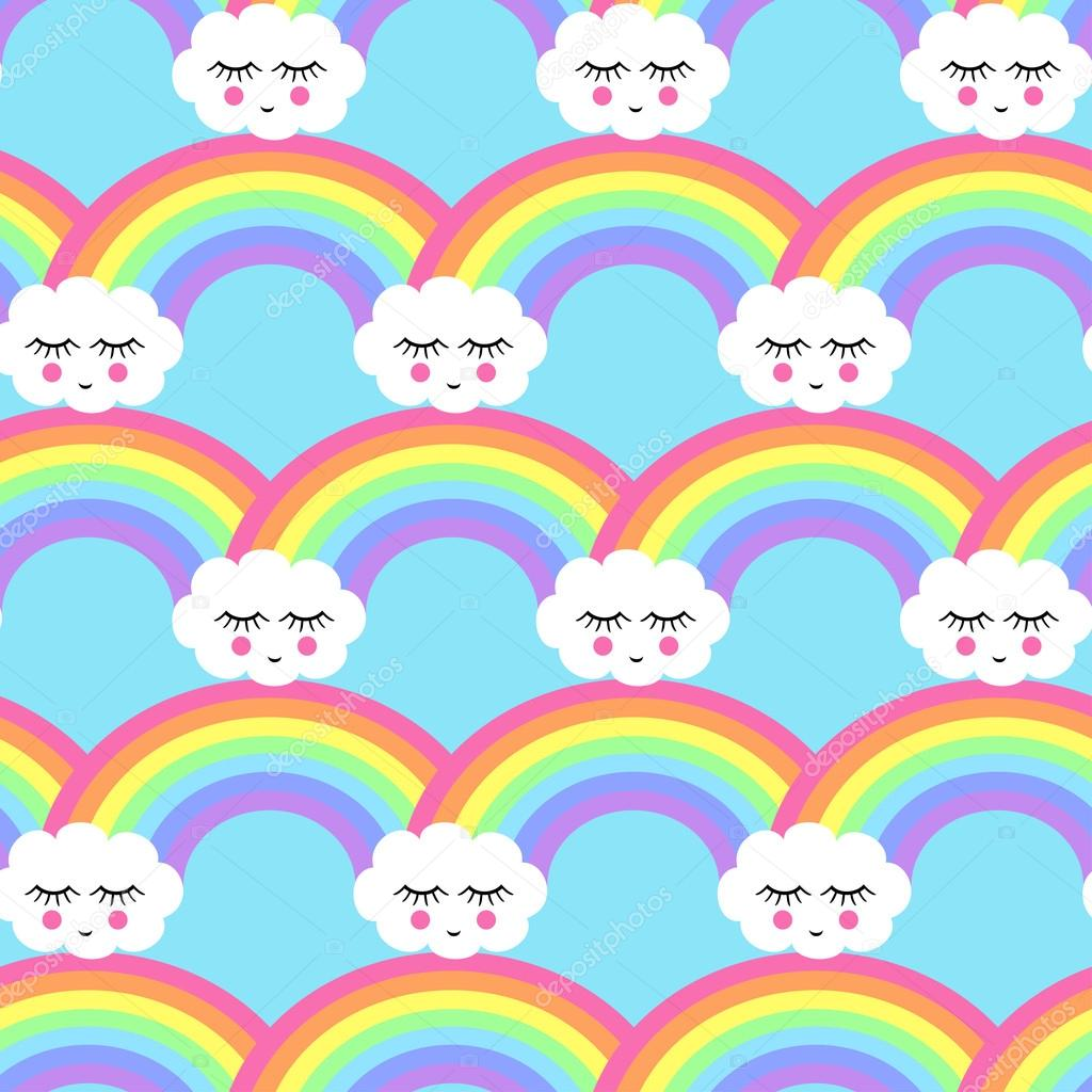 Seamless pattern with smiling sleeping clouds and rainbows for kids holidays, textiles, interior design, book design, websites