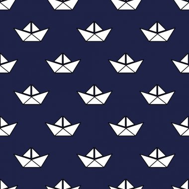 Seamless nautical pattern with white paper boats. Cute origami ship background.