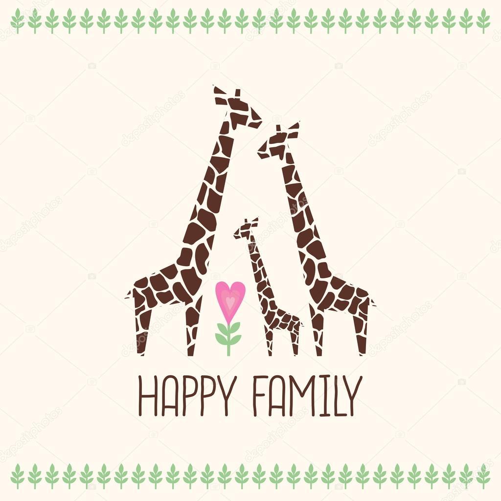 幸せ家族カードかわいいキリンの家族イラスト熱帯植物のジャングルの