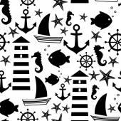 Černé a bílé moře vzor: plachetnice, maják, ryby, kotva, mořský koník