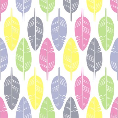 Seamless Pattern of Multicolored Feathers for Modern Wallpaper Textile on white background