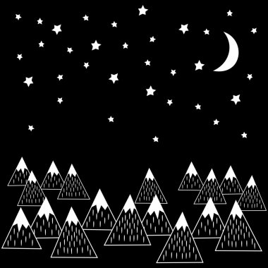 Night vector illustration with geometric snowy mountains, moon and stars. Black and white nature print.