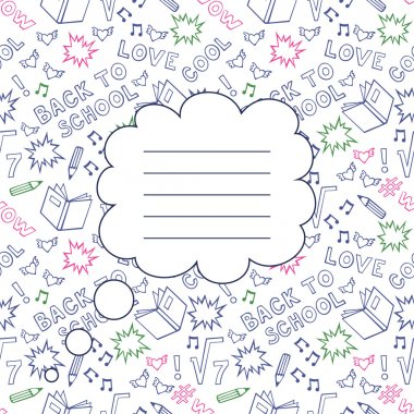 Back To School Seamless Background with space for your text. Cute paper notebook cover.