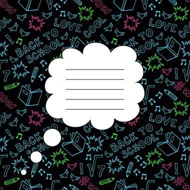 Back To School Seamless Background with space for your text. Cute black paper notebook cover.