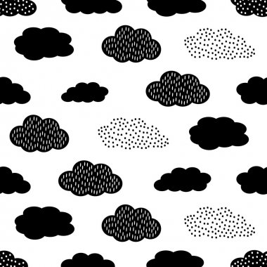 Black and white seamless pattern with clouds. Cute baby shower vector background.
