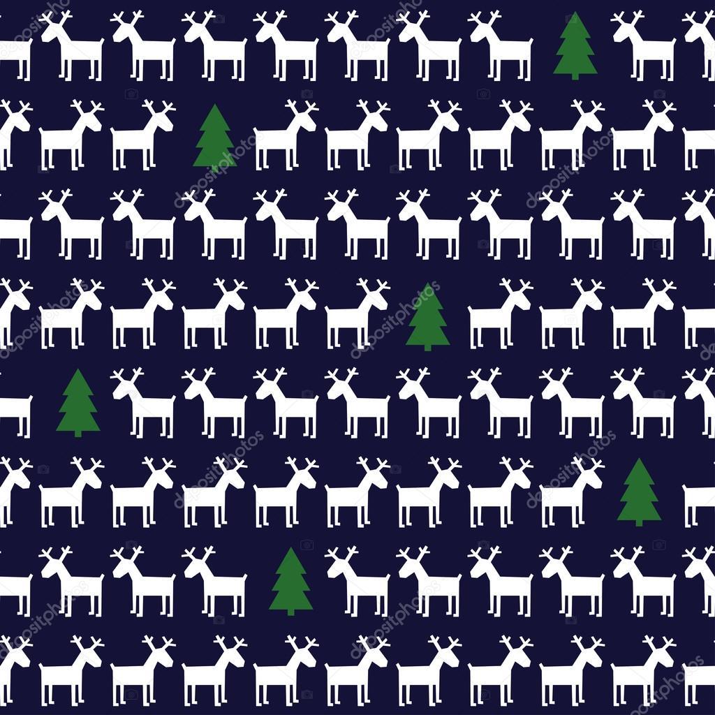 簡単なシームレスなクリスマスのパターン - 鹿、クリスマス ツリー