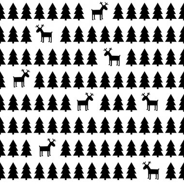 Black and white simple seamless retro Christmas pattern - deers, Xmas trees. Happy New Year background.