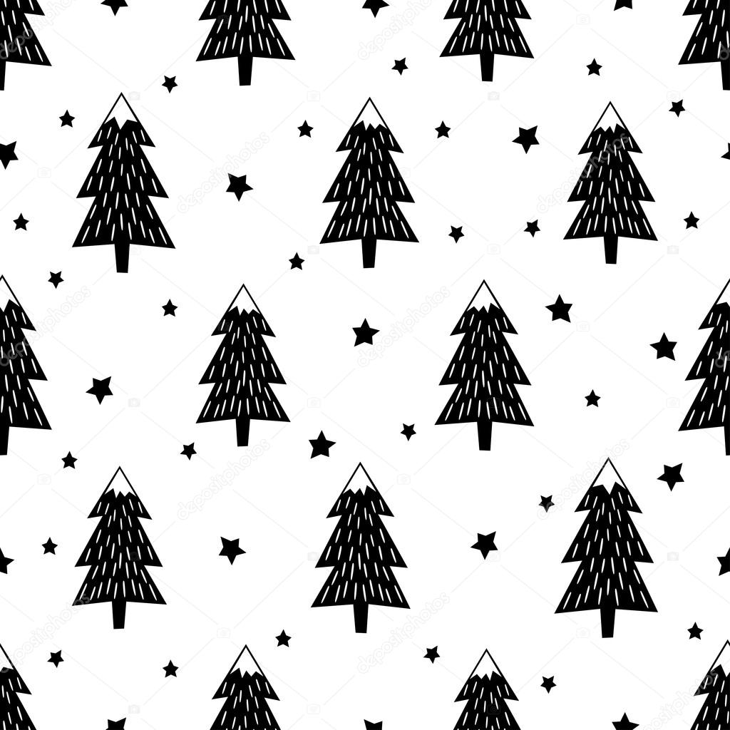 Black and white seamless Christmas pattern - varied Xmas trees, stars and snowflakes. Happy New Year background.