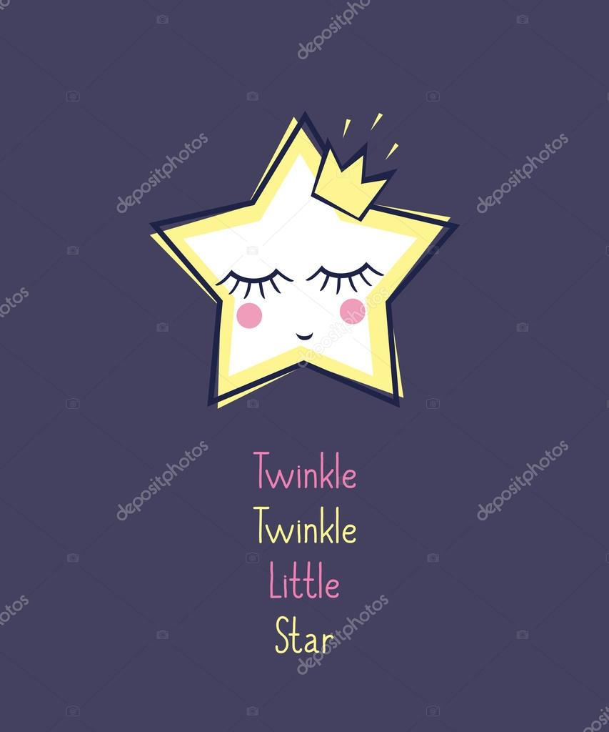 Twinkle Twinkle Little Star card. Unusual inspirational and motivational quote poster.
