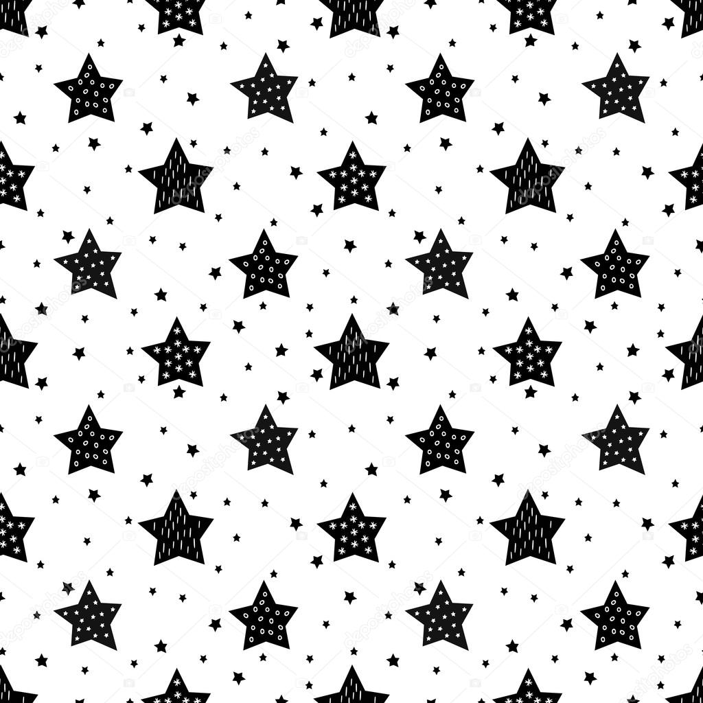 Seamless black and white pattern with cute stars for kids.