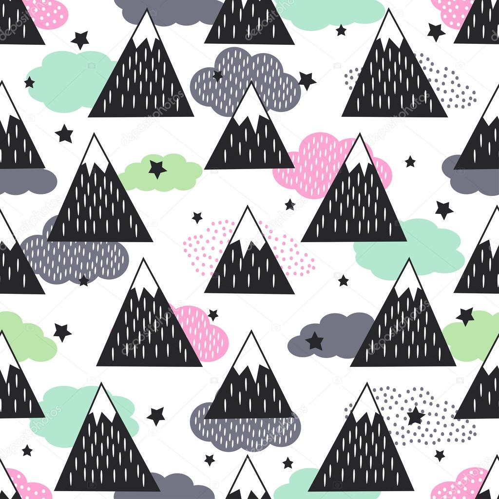 Seamless pattern with geometric snowy mountains, clouds and stars.