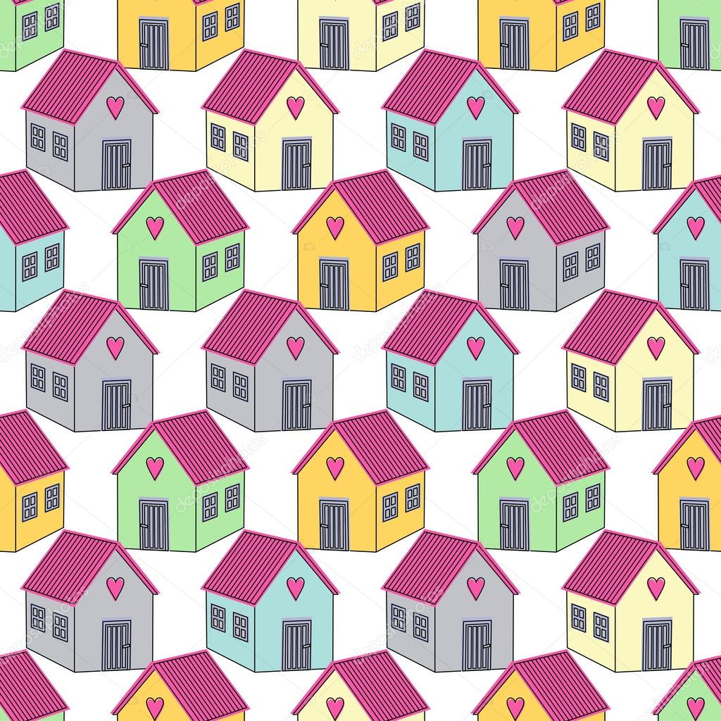 Seamless background with colorful houses with pink roofs. Home sweet ...