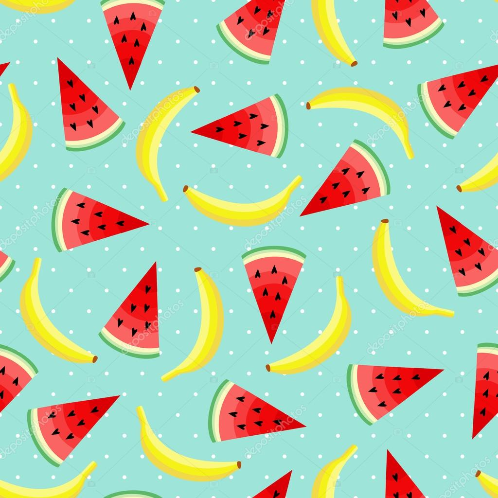 Seamless Pattern With Yellow Bananas And Juicy Watermelon Slices Cute Vector Banana Background