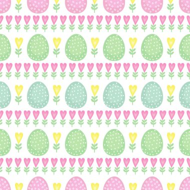 Seamless Easter pattern, card. Vector background with Easter eggs, spring flowers and hearts.