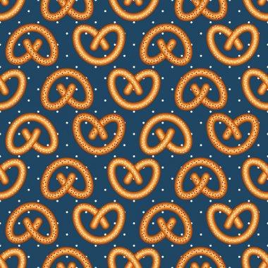 Seamless pattern with fresh tasty pretzel for Oktoberfest on polka dots background.