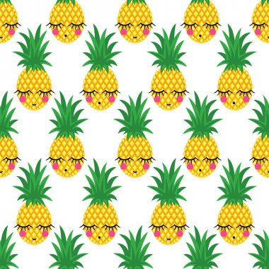 Seamless pattern with smiling sleeping pineapples for kids holidays. Vector pineapple background.