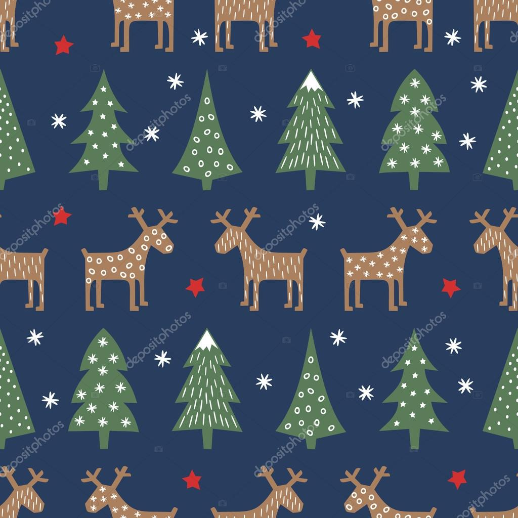 Seamless Christmas pattern - varied Xmas trees, deer, stars and snowflakes. Colorful Happy New Year background.