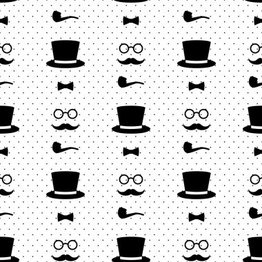 Seamless pattern with tobacco pipe, bow tie, hat, mustache and glasses on polka dots background. Hipster retro style vintage background.