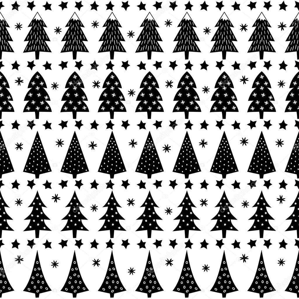 Forest Background illustration. Simple seamless Christmas pattern - Xmas trees, stars, snowflakes. Black and white Happy New Year background.