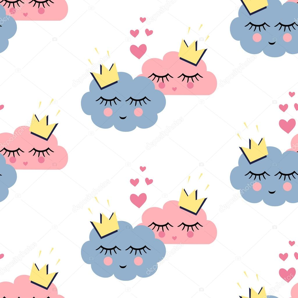 Seamless pattern with smiling sleeping clouds in love on white background. Unusual design for Valentines Day.