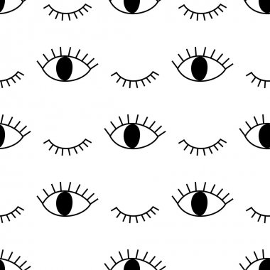 Black and white abstract pattern with open and winking eyes.