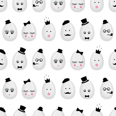 Easter eggs with glasses, mustache, bow-tie, hat, tobacco pipe, eyes, lashes, lips, crown.