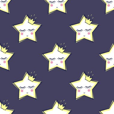 Seamless pattern with sleeping stars for kids. Cute baby shower vector background.