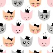 Nahtloses Muster mit lustigen mädchenhaften Katzen mit Hut, Krone, Schleife für Kinder Urlaub auf weißem Hintergrund.
