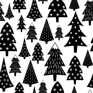 Black and white seamless Christmas pattern - varied Xmas trees and snowflakes. Winter forest illustration. Vector design for winter holidays on white background.
