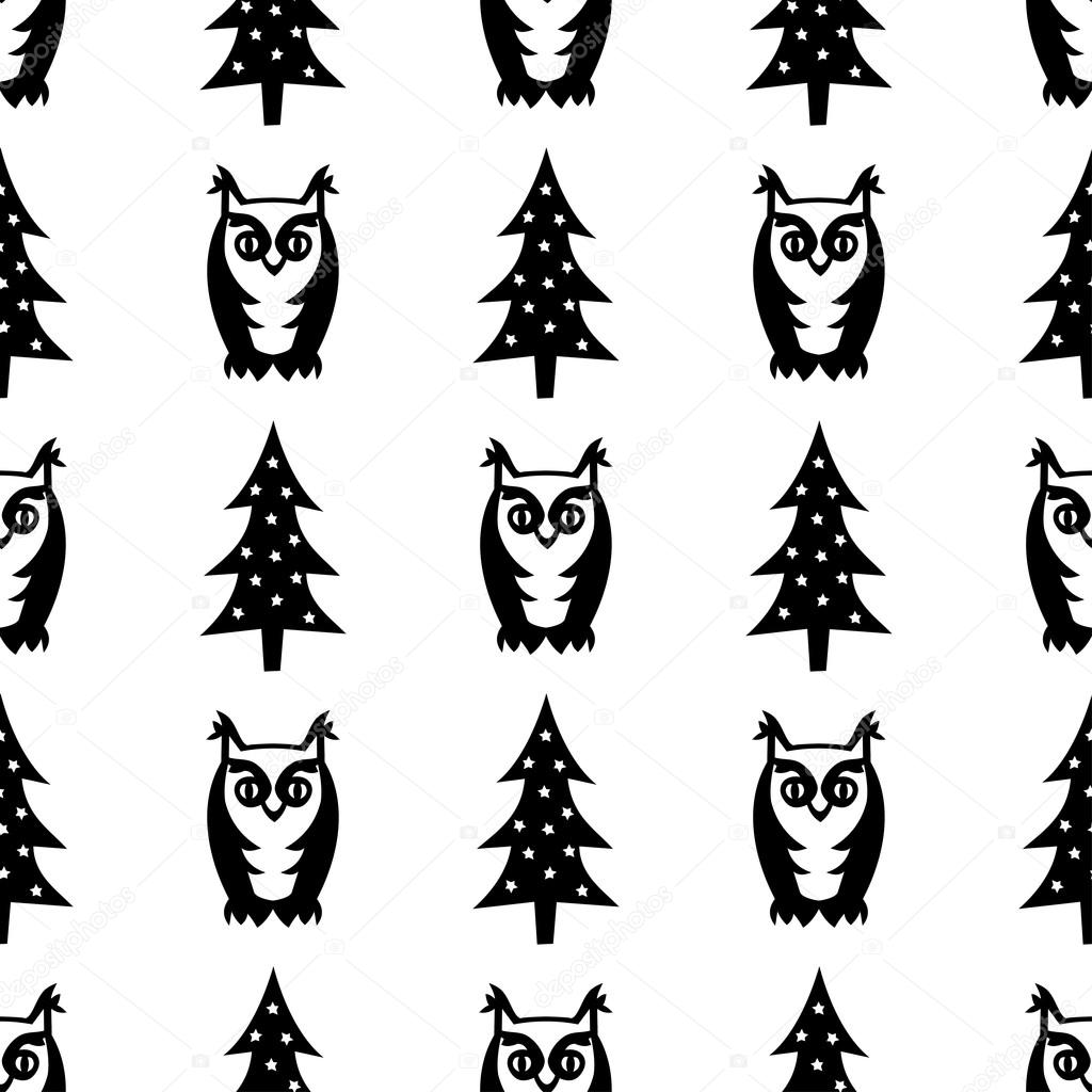 Black and white seamless winter pattern - Xmas trees and owls.