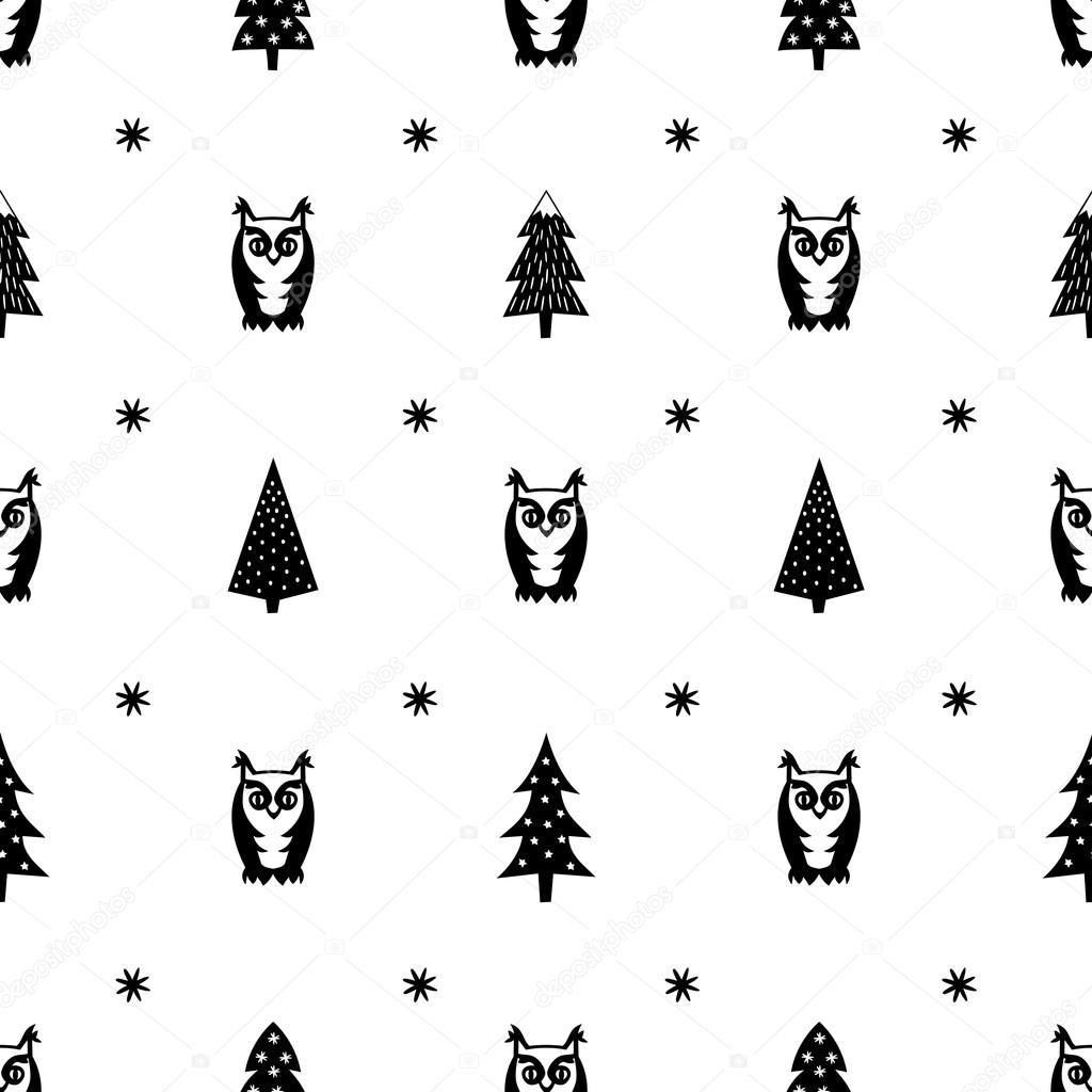 Patrón de invierno - variados árboles de Navidad, los buhos y los ...