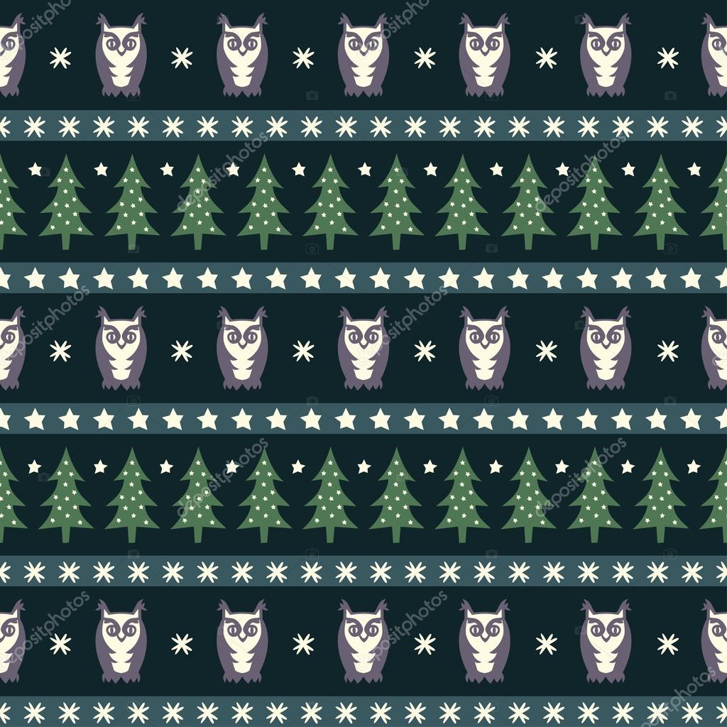 Winter forest pattern - Xmas trees, owls and snowflakes. Simple seamless nature background. Vector design for winter holidays.