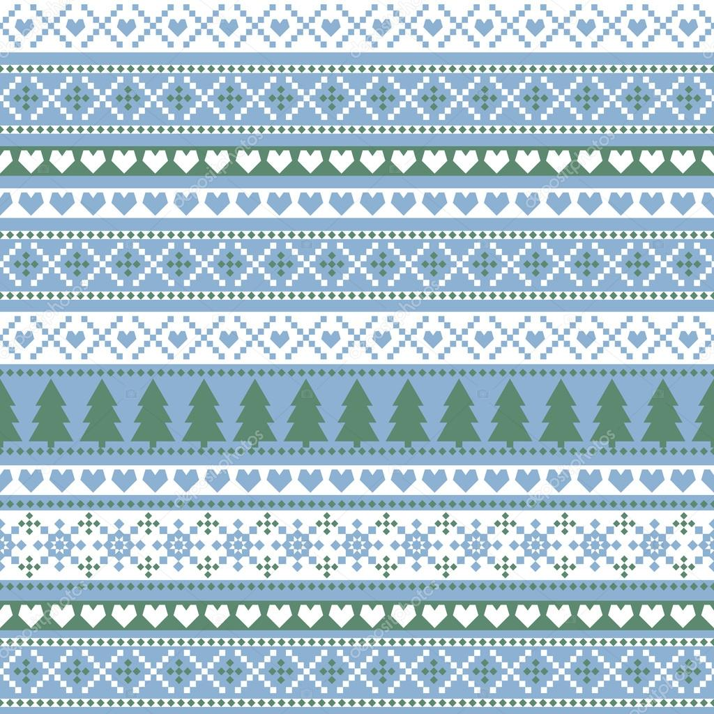 Seamless Christmas pattern, card - Scandinavian sweater style. Simple Christmas background - Xmas trees, hearts and snowflakes. Happy New Year background.