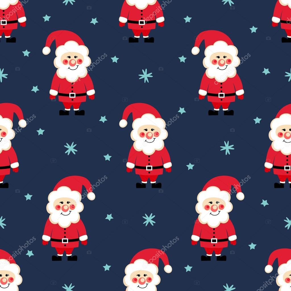 Santa Claus nahtlose Weihnachten Muster. Weihnachtsmann, Schnee und ...